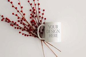 11 oz Berries Christmas Mug Mockup