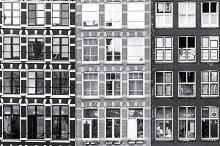 Black and white Amsterdam windows  by  in Architecture