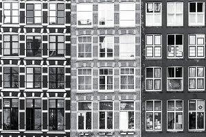 Black and white Amsterdam windows