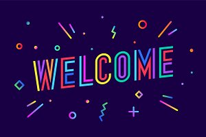 Welcome. Greeting card, banner
