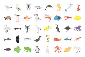 40 Underwater Life Animals Flat Icon