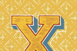 letter X vintage typography style