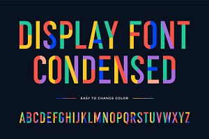 Colorful font. Colorful condensed