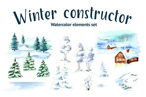 Winter constructor. Watercolor