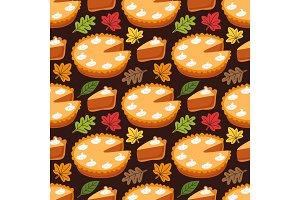 Cute Seamless Pattern with Pumpkin