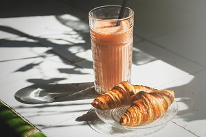 Croissants and drink for breakfast