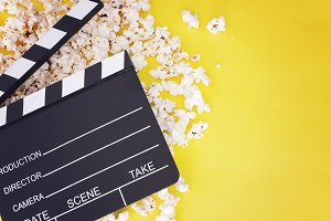 Tasty popcorn and clapboard