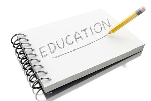 3d Education text on notepad with pe
