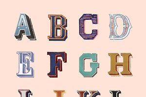 The Alphabet set of vintage letters