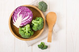 Fresh red cabbage and broccoli