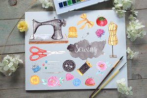 Watercolor Sewing Clip Art Set