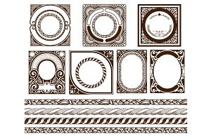 Set baroque cards and borders