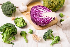 Fresh red cabbage,broccoli and garli