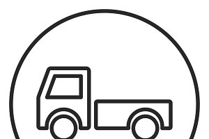 Truck stroke icon, logo illustration
