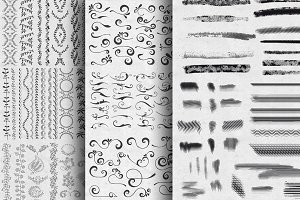 Border, swirls, and brushes set