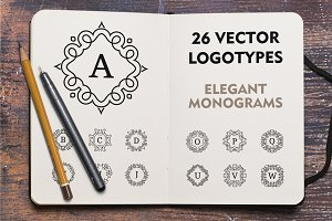 Vector monogram logotypes. Logo set.