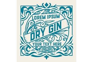 Vintage label and gin liquor design