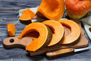 Raw sliced pumpkin