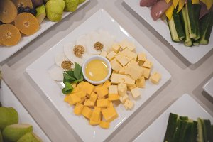 Cheese snack cubes stand on a table