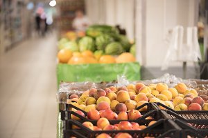 Fresh fruits in the supermarket -