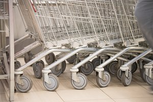 Shopping carts in the supernarket