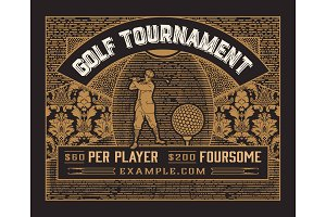 Golf tournament template. Vintage