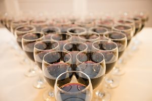 Glasses with alcohol and different