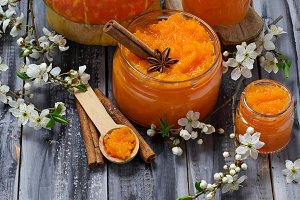 Sweet pumpkin jam in jar