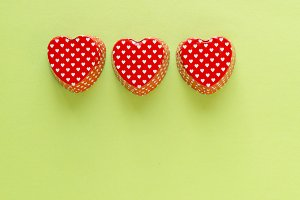 Composition of heart shape valentine
