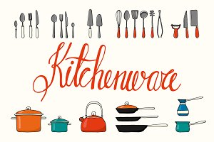 27 hand drawn kitchenware objects