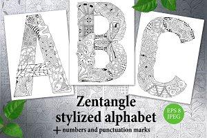 Zentangle stylized unusual alphabet