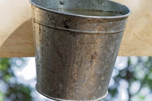 Old-fashioned tin hand wash with