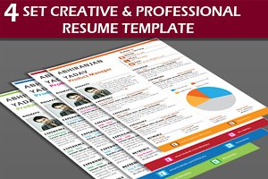 4 Set Creative & Professional Resume