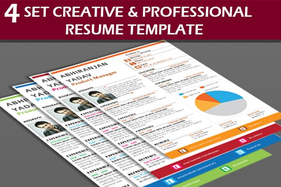 4 set creative professional resume resume templates creative 4 set creative professional resume resumes yelopaper Image collections