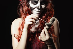 Voodoo witch with calavera makeup