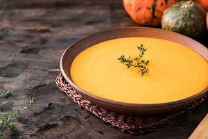 Pumpkin puree soup with thyme
