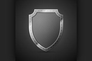 metal shield on a black