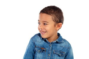 Funny small child with denim t-shirt