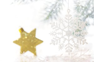 A snowflake and a gold star