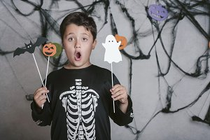 Funny boy at halloween party