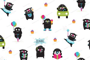 Active Monsters kids print pattern