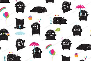 Black monsters kids seamless pattern