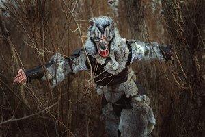 Werewolf in fur skins of animals.
