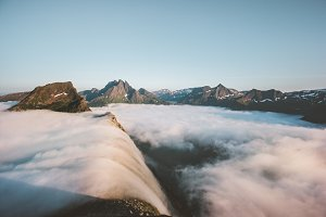 Clouds waterfall in mountains