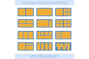 Icon set of location a photos in