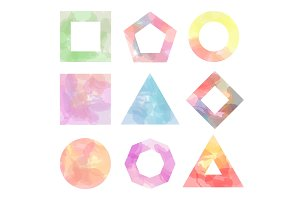 Nine simple figures watercolor