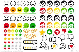 Rating, review flat vector icons