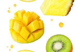 Oranges with mango, kiwi, pinapple