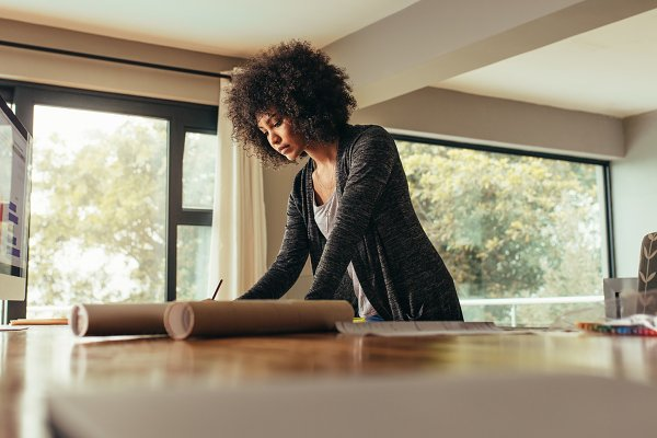 Business Stock Photos: Jacob Lund - Female architect working at home