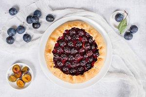 Homemade traditional plum pie
